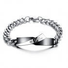 Men's Fashionable 316L Stainless Steel Bracelet - Black + Silver