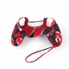 A-M08 Protective Non-slip Silicone Case w/ Wrist Strap for PS4 Controller - Red + Camouflage