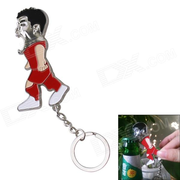 Cute Cartoon Football Player Shaped Stainless Steel Bottle Opener - White + Red + Multi-Colored