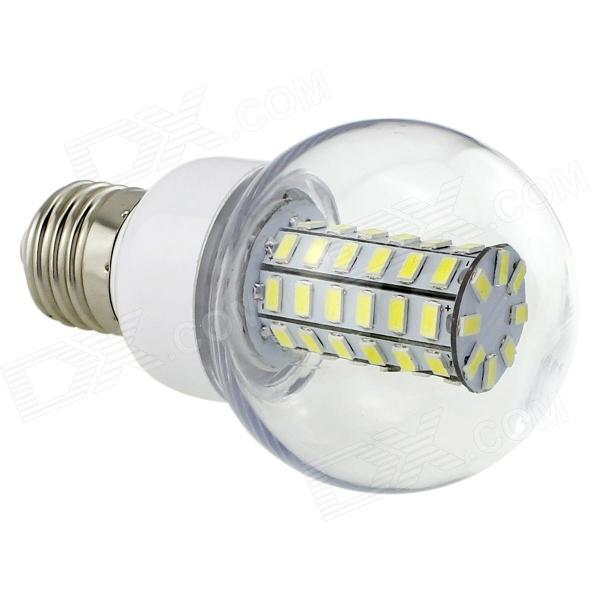 HONSCO E27 6W 550lm 6500K 56-SMD 5730 LED Cool White Lamp - White + Silver (AC 220~240V) lexing lx r7s 2 5w 410lm 7000k 12 5730 smd white light project lamp beige silver ac 85 265v