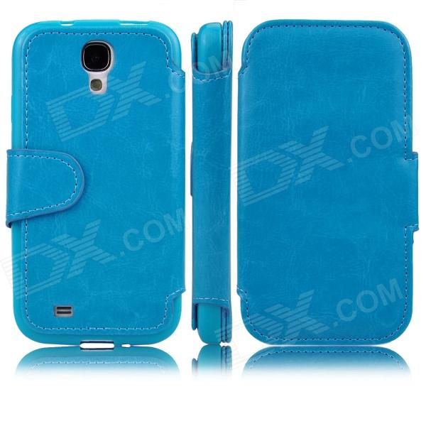 Stylish Flip Open PU Leather case w/ Card Slot for Samsung Galaxy S4 i9500 - Blue аксессуар чехол htc u ultra brosco silicone transparent htc uu tpu transparent