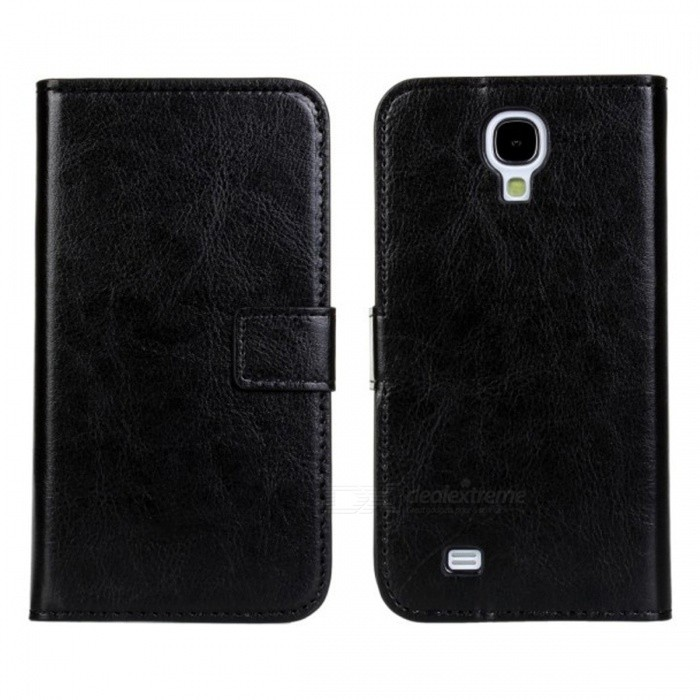 Stylish Flip Open PU Leather case w/ Card Slot for Samsung Galaxy S4 i9500 - Black fashionable protective bumper frame case with bowknot for samsung galaxy s3 i9300 black