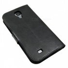 Stylish Flip Open PU Leather case w/ Card Slot for Samsung Galaxy S4 i9500 - Black