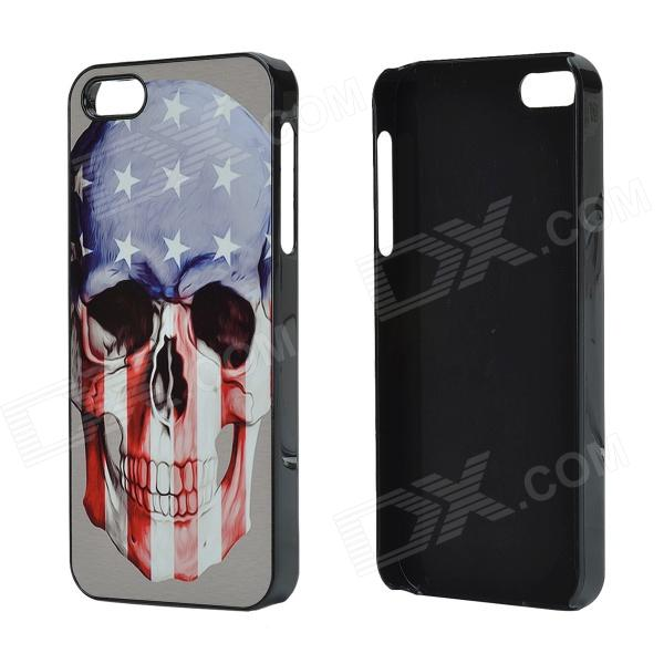 US Flag Skull Pattern Aluminum Alloy + PC Back Case for IPHONE 5 / 5S - Blue + Red + Multicolored ostrich wearing a hat pattern aluminum alloy pc back case for iphone 5 5s creamy