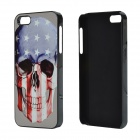 US Flag Skull Pattern Aluminum Alloy + PC Back Case for IPHONE 5 / 5S - Blue + Red + Multicolored