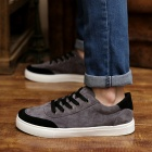 Shang-Jin Men's Breathable Canvas Shoes - Black + Grey + White (EUR Size 44)