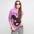 Catwalk88 Spring Women's Printed Pattern Long Sleeve Casual Hoodie with Hat - Purple (L)