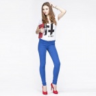 Catwalk88 Women's Casual Cotton Low-waist Pencil Pants / Skinny Jeans - Blue (Size 26)