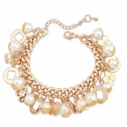 FenLu Fashion Zinc Alloy + Pearls Bracelet for Women - Golden