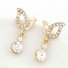 FenLu Fashion Wing Style Zinc Alloy + Rhinestones Stud Earrings for Women - Golden (Pair)