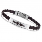 Fanshion Women's PU Leather Band Stainless Steel Bracelet - Coffee + Silver