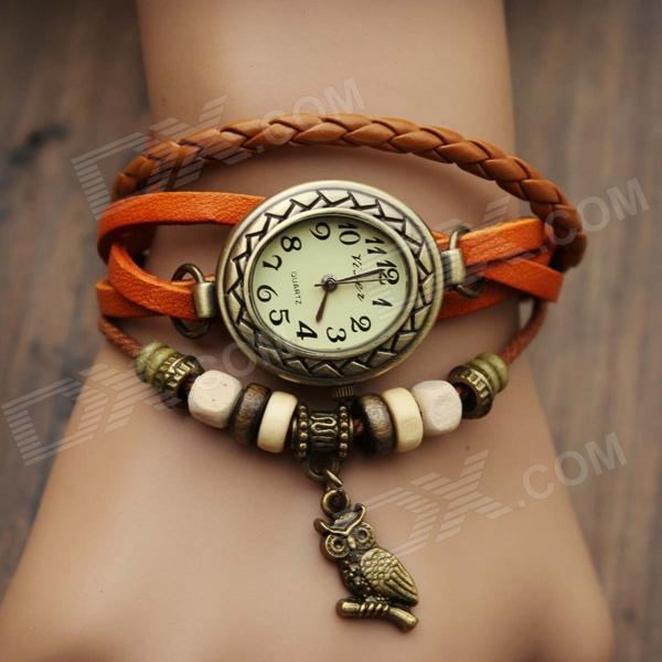 Women's Split Cow Leather Band Stainless Steel Quartz Analog Bracelet Watch w/ Owl Pendant - Orange split leather band analog quartz watch handwork retro style bracelet for women 1 x ag4
