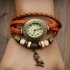 Women's Split Cow Leather Band Stainless Steel Quartz Analog Bracelet Watch w/ Owl Pendant - Orange
