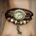 Women's Split Leather Band Stainless Steel Quartz Analog Bracelet Watch w/ Owl Pendant - Dark Brown