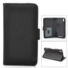 Fashionable Protective Flip Open PU + ABS Case w/ Stand + Card Slot for Sony Xperia Z2 - Black