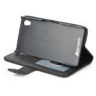 Flip Open PU + ABS Case w/ Stand, Card Slot for Sony Xperia Z2 - Black