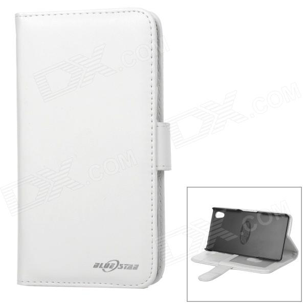 Fashionable Protective Flip Open PU + ABS Case w/ Stand + Card Slot for Sony Xperia Z2 - White