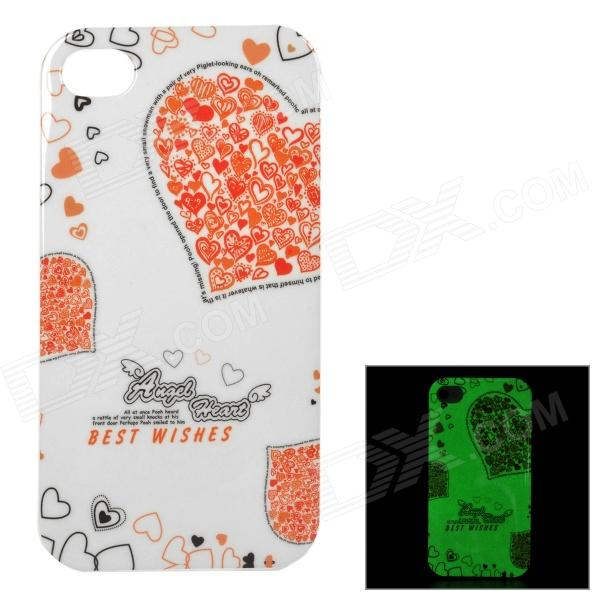 Heart Style Glow-in-the-dark Protective TPU Back Case Cover for IPHONE 4 / 4S - White + Orange girl pattern glow in the dark protective tpu back case for iphone 4 4s white light pink