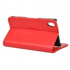 Fashionable Protective Flip Open PU + ABS Case w/ Stand + Card Slot for Sony Xperia Z2 - Red