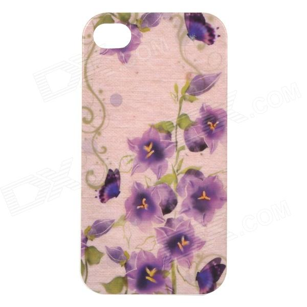 Floral Patterned Protective TPU Back Case Cover for IPHONE 4 / 4S - Purple + Green one piece 1x brand new high quality silicon protective skin case cover for xbox 360 remote controller blue green mix color