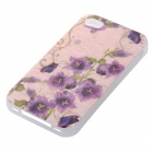 Floral Patterned Protective TPU Back Case Cover for IPHONE 4 / 4S - Purple + Green