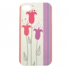Protective Patterned Glow-in-the-dark TPU Back Case Cover for IPHONE 4 / 4S - White + Multi-colored