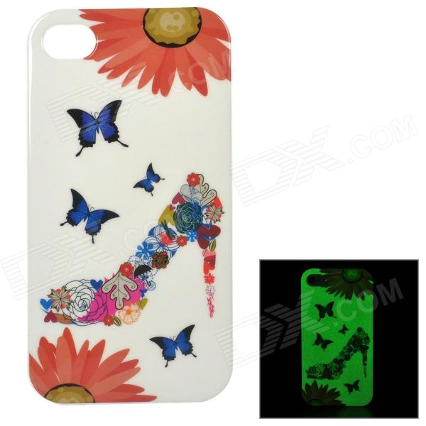 Protective Patterned Glow-in-the-dark TPU Back Case for IPHONE 4 / 4S - White + Multi-colored girl pattern glow in the dark protective tpu back case for iphone 4 4s white light pink