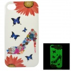 Protective Patterned Glow-in-the-dark TPU Back Case for IPHONE 4 / 4S - White + Multi-colored
