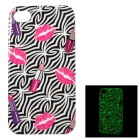 Lip + Lipstick Patterned Glow-in-the-dark Protective Back Case for IPHONE 4 / 4S - Black + Deep Pink