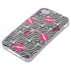 Labbro + rossetto modellato Glow-in-the-dark Custodia posteriore per IPHONE 4 / 4S - nero + rosa intenso