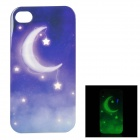 Moonlit Night Style Glow-in-the-dark Protective TPU Back Case Cover for IPHONE 4 / 4S - White + Blue