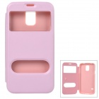 Protective Flip Open PU Leather Case w/ Two Display Windows for Samsung Galaxy S5 - Pink