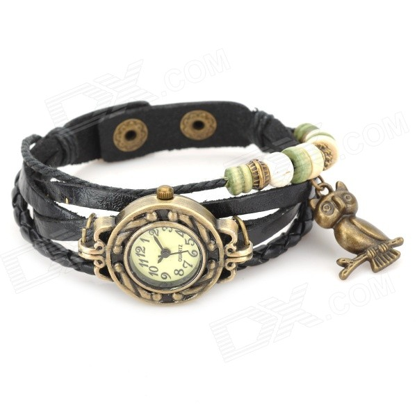 Women's Retro Split Leather Band Analog Quartz Wrist Watch - Black + Antique Brass (1 x 377)
