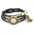 Buy Retro Leather Band Women's Analog Quartz Wrist Watch - Black (1*377)