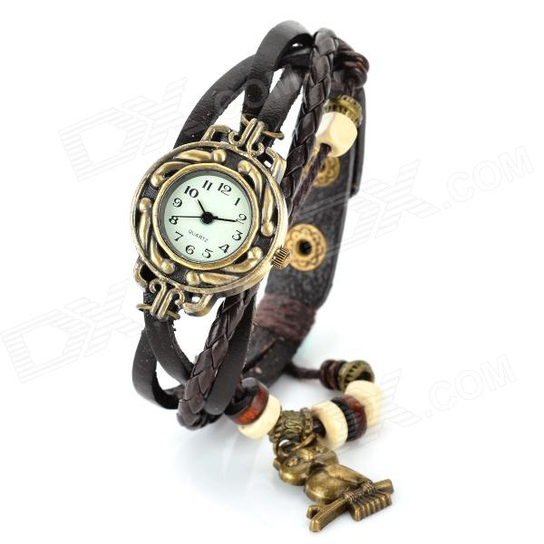 Women's Retro Style Owl Ornament Split Leather Band Analog Quartz Watch - Brown + Brass (1 x 377) fashion cupid ornament split leather bracelet coffee brown multi color