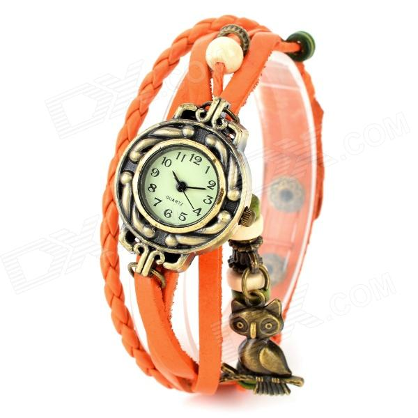 Women's Retro Style Split Leather Band Analog Quartz Wrist Watch - Orange + Bronze (1 x 377) woman s retro flower dial analog quartz wrist watch w pu leather band yellow brass 1 x 377