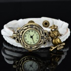 Women's Retro Split Leather Band Analog Quartz Wrist Watch - White + Bronze (1 x 377)