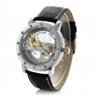 Men's Fashion PU Leather Band Analog Mechanical Wrist Watch - Black + Silver