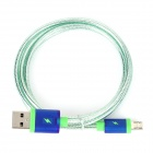 V8 Micro 5-Pin Male to USB Male Braided Data Charging Cable for Samsung, HTC + More - Light Green