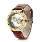 Men's Fashion PU Leather Band Analog Mechanical Wrist Watch - Brown + Bronze