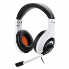 3.5mm Headband Wired Gaming Headset w/ Sound Card / Microphone - White + Black (240cm)