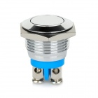 Metal Push Button Self Reset Switch - Silver + Blue