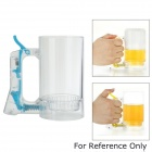 Creative Acrylic + ABS Manual Beer Bubble Cup w/ Handle - Transparent + Blue