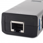 3-Port USB 3.0-hub m / ethernet RJ45 port - svart