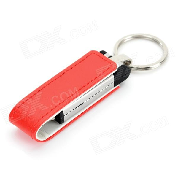 Ourspop U611 Stylish PU + Aluminum USB 2.0 Flash Drive w/ Keychain - White + Red (32GB) купить