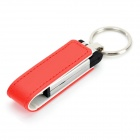 Ourspop U611 Stylish PU + Aluminum USB 2.0 Flash Drive w/ Keychain - White + Red (32GB)
