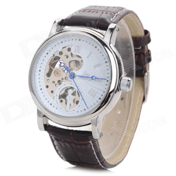 Shenhua A2698 Men's Stylish PU Leather Band Analog Self-Winding Mechanical Wrist Watch - Brown