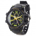 OREEX ZH-1 Sports Water Resistant Rubber Band Analog + Digital Wrist Watch - Black (1 x CR2025)