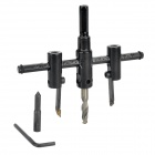 Multifunction Adjustable Alloy Wood Hole Saw w/ Bit Set - Black