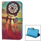 IKKI Chinese Knot Style PU Leather Full Body Case w/ Stand for Samsung Galaxy S5 - Yellow + Blue